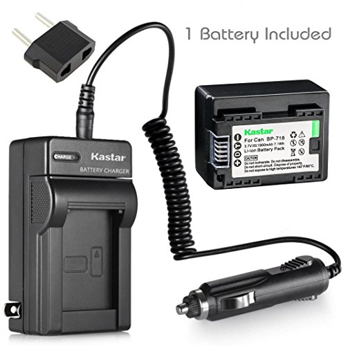 Kastar Battery 1-Pack and Charger for Canon BP-718 BP-727BP-709 CG-700 and VIXIA HF M50 HF M52 HF M500 HF R30 HF R32 HF R40 HF R42 HF R50 HF R52 HF R60 HF R62 HF R300 HF R400 HF R500 HF R600