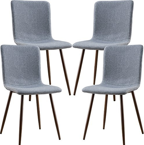 Poly and Bark Wadsworth Fabric Dining and Kitchen Side Chair with Metal Legs in Walnut Wood Color, Grey (Set of 4) - Materials: Galvanized Steel, Polyester Fabric Material: Fabric Country of Origin: China - kitchen-dining-room-furniture, kitchen-dining-room, kitchen-dining-room-chairs - 51cGNkBq21L -