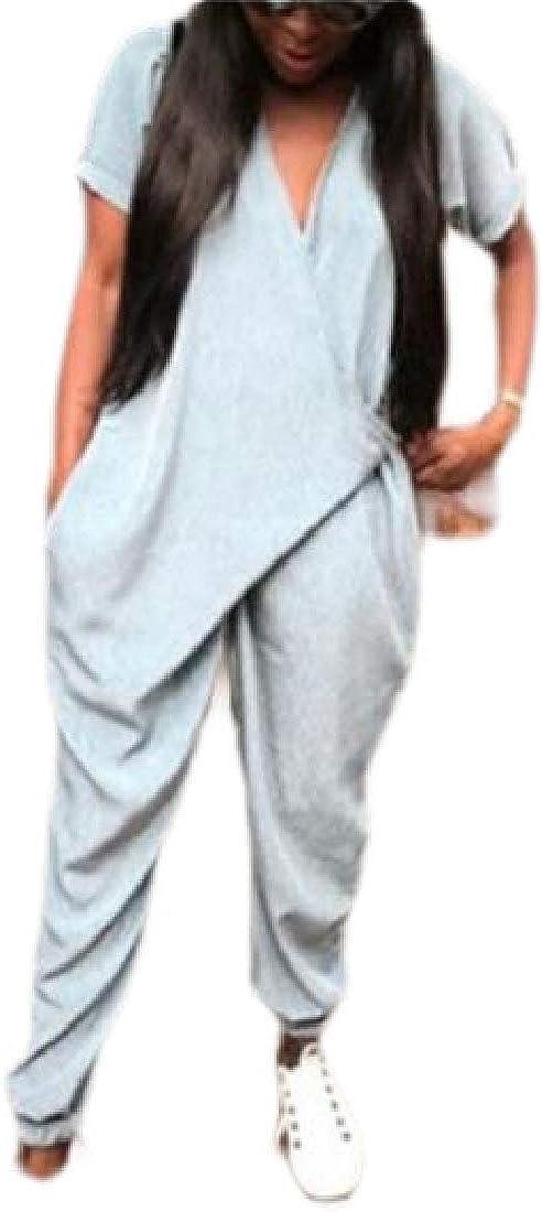 YIhujiuben Women Short Sleeve Wrap V Neck Romper Baggy Harem Long Jumpsuit