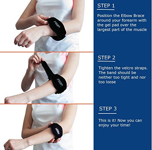 Tennis Golfers Elbow Brace for Tendonitis Treatment, Elbow Strap with Compression Pad, Tennis Elbow Pain Relief Support for man and woman + Drawstring Carrying Bag by Essencell (Image #2)