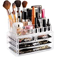 Masirs Clear Cosmetic and Jewelry Storage Organizer with Drawers