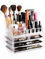 Clear Cosmetic Storage Organizer - Easily Organize Your Cosmetics, Jewelry and Hair Accessories. Looks Elegant Sitting on Your Vanity, Bathroom Counter or Dresser. Clear Design for Easy Visibility.