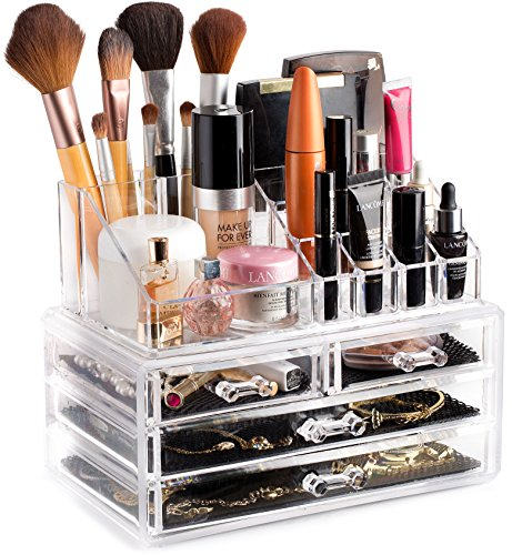 Clear Cosmetic Storage Organizer - Easily Organize Your Cosmetics, Jewelry and Hair Accessories. Looks Elegant Sitting on Your Vanity, Bathroom Counter or Dresser. Clear Design for Easy ()