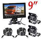Vehicle Backup Camera Monitor Kit,2 x 18 LED Night Vision Reverse Camera 4 Pin + 9 inch Car Rearview Monitor Parking Assistance System 2X 49ft Cable Long Bus Truck Trailer Caravan