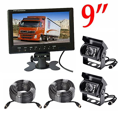 Camnex Rear View Backup Camera System 9 inch Monitor Built-in DVR Video Recording with Quad Split Screen 5 x Sony CCD Color Waterproof Night Vision Camera for Truck Van Caravan Trailers Camper Bus RV