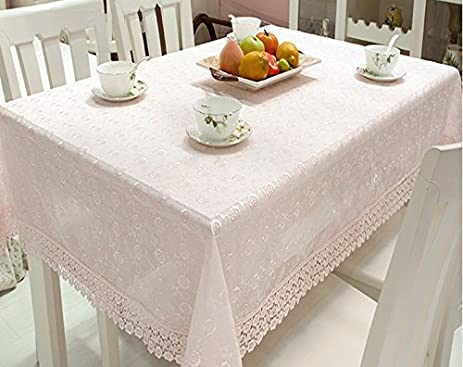 Hoomy Rural Floral Small Tablecloth For Square Table Pink Lace TV Covers  Embroidered Modern Table Cloth