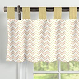 Carousel Designs Pale Pink and Gold Chevron Window Valance Tab-Top