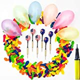 500 Pcs 5' Latex Balloon For Darts Games Or Water Balloons and 6 Pcs Plastic Darts With Metal Hand Shank Bundle for Birthday Party Games, Outdoor Carnival Pop Party, Darts Competition