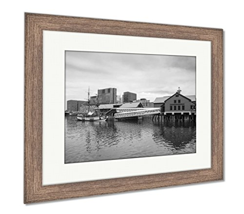 Ashley Framed Prints The Boston Tea Party in Boston Ma, Wall Art Home Decoration, Black/White, 26x30 (Frame Size), Rustic Barn Wood Frame, -