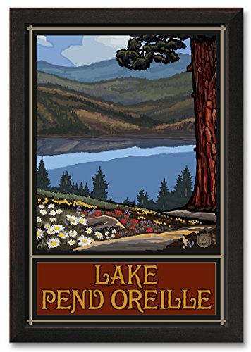 Northwest Art Mall Lake Pend Oreille Idaho Trails Hills Professionally Framed Wall Decor by Paul A. Lanquist. Print Size: 30
