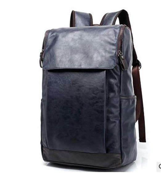 Herren Leder Rucksack Adrette Männer Reisetasche Vintage Schultasche  College Rucksack Escolar Blue 92d4cb5bfc