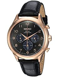 Seiko Mens Solar Chronograph Quartz Stainless Steel and Leather Casual Watch, Color:Black (Model: SSC566)