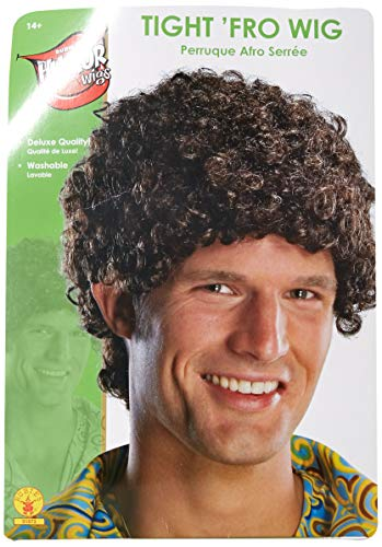 Halloween Costumes Black Curly Hair (Rubie's Tight Fro Wig, Brown, One)