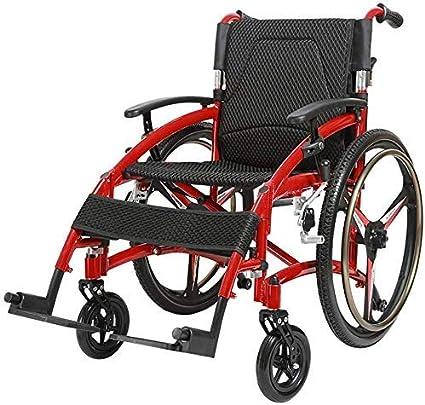 Hyy-yy En silla de ruedas silla de ruedas plegable ultra ligero ligero de los deportes portátiles informal de aluminio de liberación rápida absorción de impactos Viejo Viajar pequeña carretilla de rue