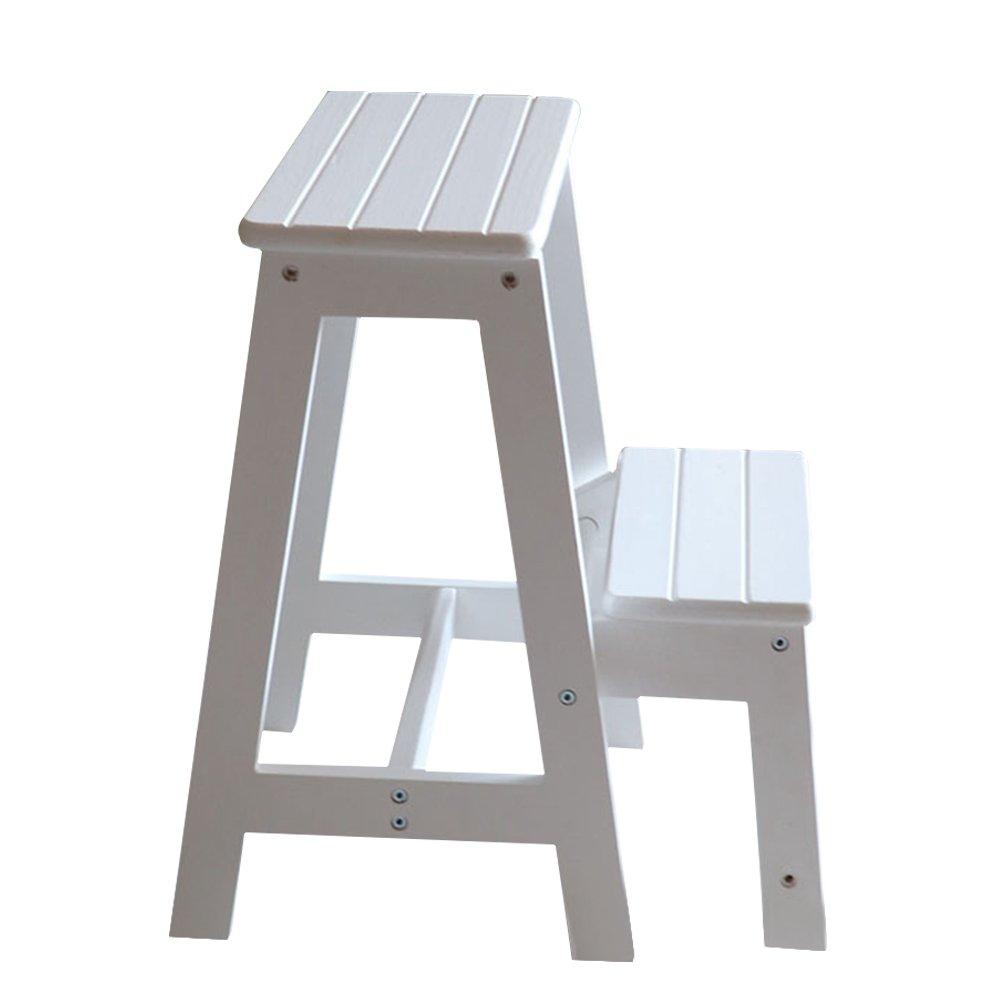 Vogvigo 2 Tier Solid Wood Step Stool Two Staircase Folding Ladder Bench Seat Kitchen Chair Furniture Household Flower Frame Non-Slip Climbing Stool (White)