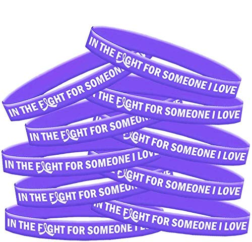 in The Fight for Someone I Love Esophageal and Stomach Cancer Wristband Bracelet 10-Pack (Periwinkle)