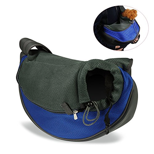 ENJOYING Dog Cat Puppy Carrier Mesh Travel Tote Shoulder Bag Sling Backpack (Blue, L) Review