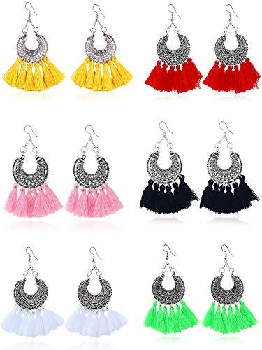 Trounistro 6 Pairs Tassel Hoop Earrings Fan-shaped Drop Earrings Dangle Eardrop Earrings Statement Earrings For Women And Girls (Color set 4)
