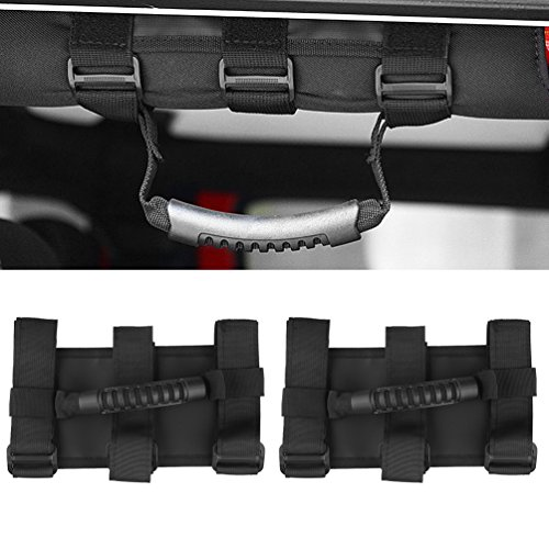 Roll Bar Wide Grab Handles Fits 1 1/2 to 3 Inch Roll Bars for SUV UTV ATV Jeep Wrangler JK JKU CJ YJ TJ Sport X Sahara Unlimited ()