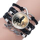 Yntmerry Gem Glass Bracelet Handwoven Multilayered Leather Horse Bracelet