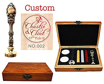 MNYR - Juego de sellos de madera de palos de melocotó n, diseñ o vintage personalizado, con nombre y fecha, para regalo de boda diseño vintage personalizado
