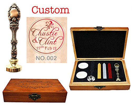 (MNYR Vintage Custom Made Names Date Curvy Monogram Personalized Design Logo Picture Red Brass Metal Wax Seal Sealing Stamp Melting Spoon Sticks Candle Wood Box Gift Wedding Invitations)
