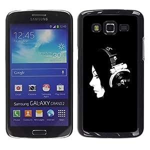 Be Good Phone Accessory // Dura Cáscara cubierta Protectora Caso Carcasa Funda de Protección para Samsung Galaxy Grand 2 SM-G7102 SM-G7105 // Music Minimalist Music Girl