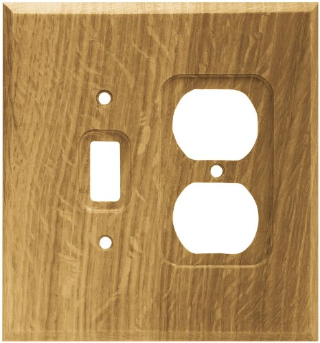 Brainerd 64677 Wood Square Single Toggle Switch/Duplex Outlet Wall Plate / Switch Plate / Cover, Medium ()