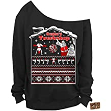 Vintage Fly Ladies Ugly Christmas Sweater Santa's Twerkshop Slouchy Off The Shoulder Sweatshirt