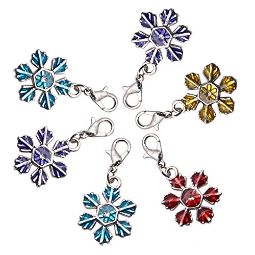 JETEHO 10pcs Mixed Christmas Snowflake Dangle Charms Pendant with with Lobster Clasp, 37mm, Hole: ()