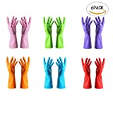 #6: Finico 6 Pairs Reusable Waterproof Household Gloves Durable Clean Laundry Dish Washing Household Gloves For Kitchen Dish Washing Laundry Cleaning, Medium (Random color)