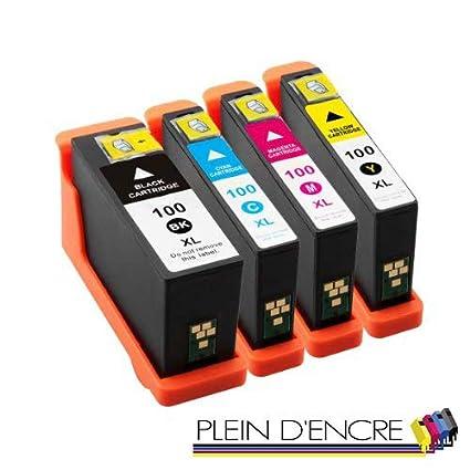 Pack 4 cartuchos de tinta N ° 100 XL para impresora Lexmark ...