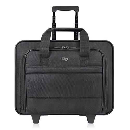 (Solo New York Carnegie Rolling Laptop Bag.  Slim, Compact Design Rolling Case for Women and Men. Fits up to 15.6 inch laptop - Black )