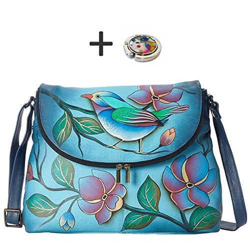 by Design Leather on Hand Painted Purse Anna Denim Bird Real Top Hobo Handbag Purse Free Longsome Top Flap Anuschka Quality Holder AxYzx4qd