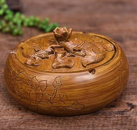 OLQMY Creative new Chinese old vintage with embossed cover large ashtray Home Furnishing living room office decoration ashtray personalized gift ornaments etc.,a