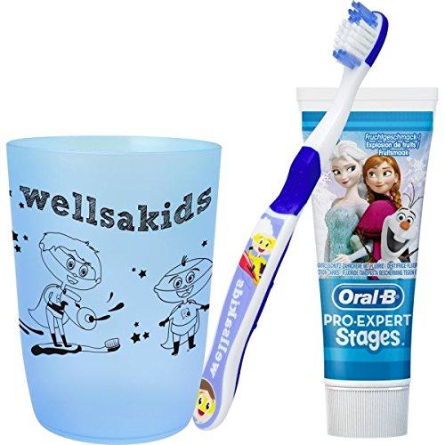 wellsamed wellsakids Zahnpflegeset Eiskönigin 3-teilig für Kinder Set Jungen blau