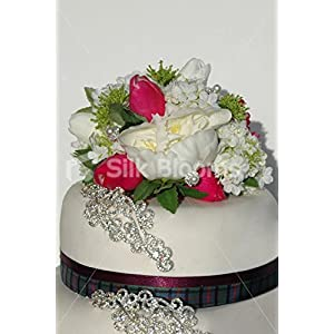 Silk Blooms Ltd Peony, Tulip & Snowball Wedding Cake Topper in Ivory and Fuchsia 10