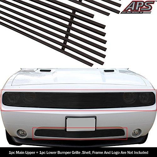 APS Compatible with 2011-2014 Dodge Challenger Phantom Black Billet Grille Combo N19-H25316D