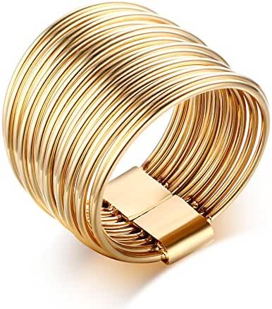 Gold Plated Stainless Steel 10 Multi Plain Bands Interlocked Stacked Ring Set, Wide Statement Rings