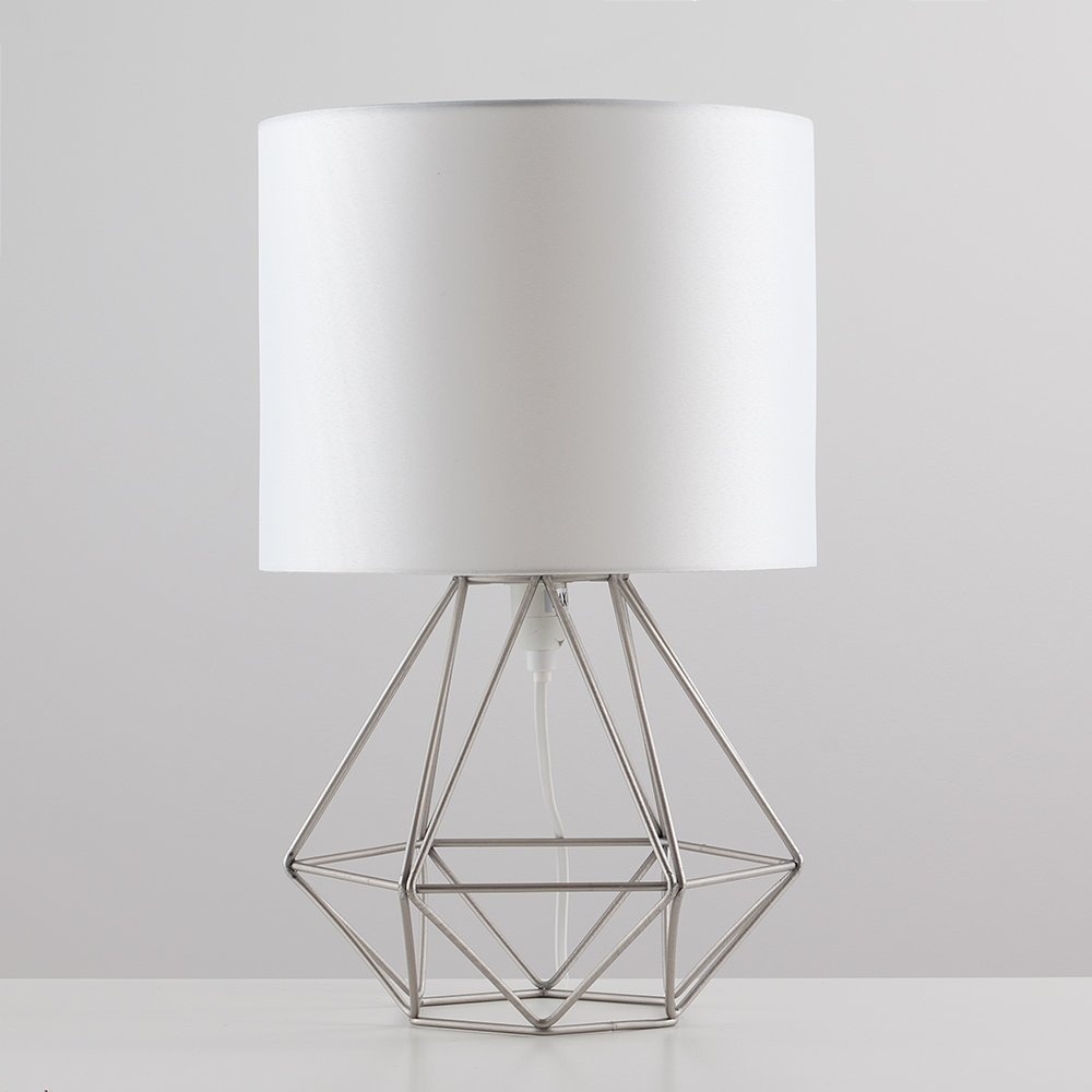Modern silver chrome metal basket cage style table lamp with a modern silver chrome metal basket cage style table lamp with a white fabric shade amazon lighting greentooth Images