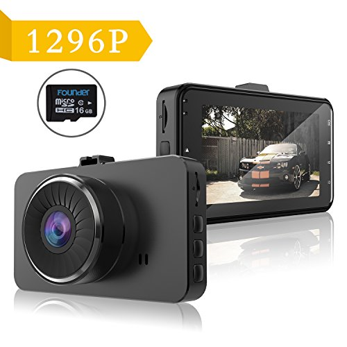 Dash Cam-IPS Car Dvr Camera Recorder with Full HD 1296P 170 Degree Wide Angle Lens Dashboard Camera with G-sensor,WDR,Night Vision,Loop Recording,16GB include.