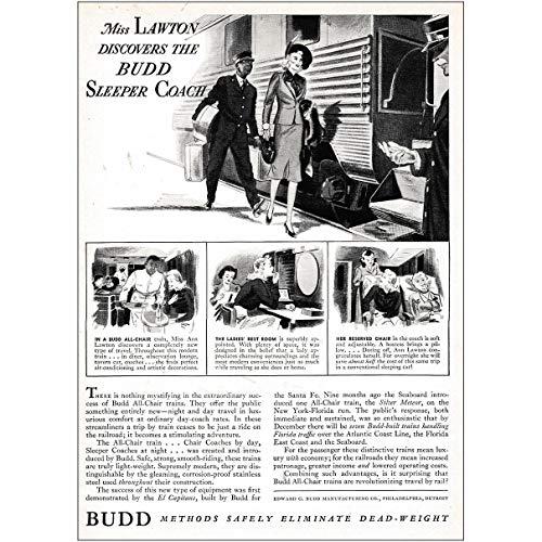 RelicPaper 1939 Budd: Miss Lawton Discovers The Budd Sleeper Coach, Budd Print -