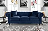 Classic Velvet Scroll Arm Tufted Button Chesterfield Style Sofa (Navy)
