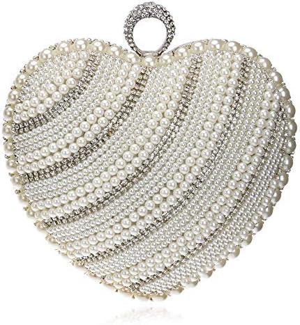 ハンドバッグ女性、ヨーロッパおよびアメリカの宴会パールイブニングバッグ、女性の手持ち株イブニングバッグ、2色、16 * 16 * 8 Cm 美しいファッション (Color : White)