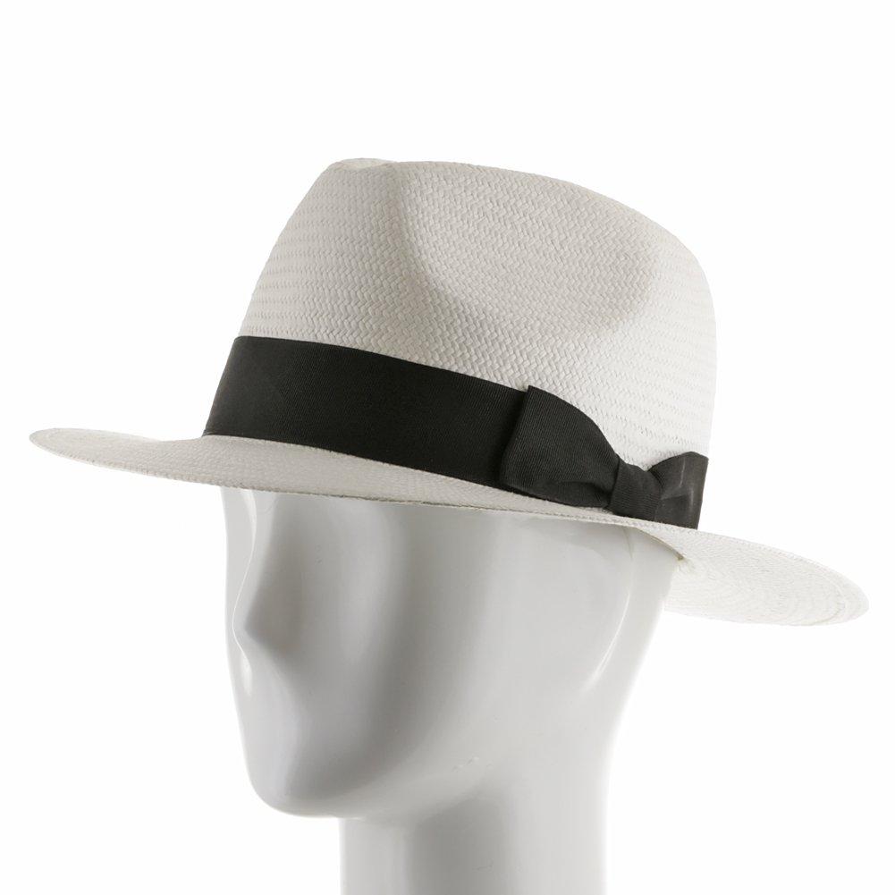 Ultrafino Trilby Straw Fedora WHITE Panama Hat 7 1/2 by Ultrafino (Image #4)