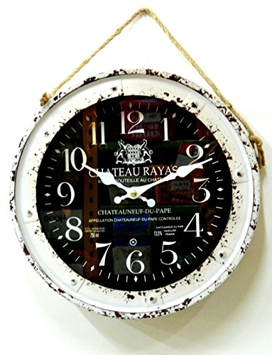 """11"""" Decorated Vintage Round Metal Black White Wall Clock - Acc-2076"""