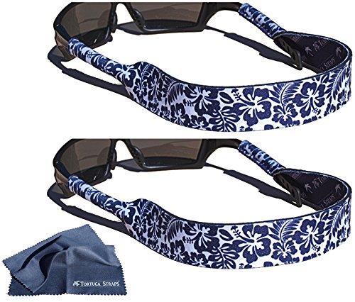 Tortuga Straps FLOATZ by Playa Vida – 2 Pack, Maui Plum, Adjustable, Neoprene Floating Sunglass Straps and Eyeglass Holder – Fits Small & Oversized glasses to securely retain on head - Neoprene Sunglass Strap
