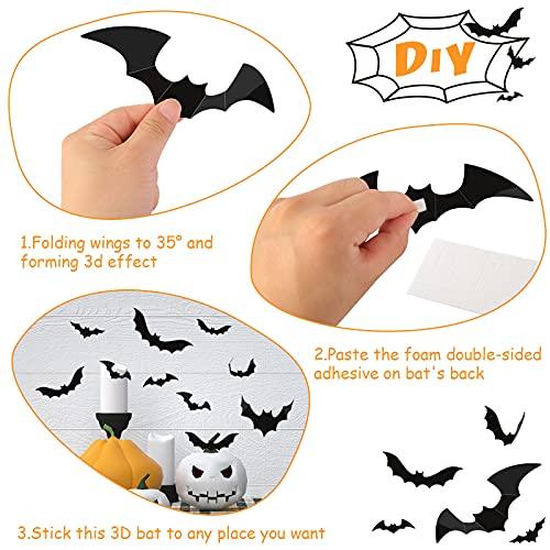 LOVEINUSA 84 PCS 3D Bat Stickers, Bats Wall Decor Removable Bat Decoration Large Black Scary Bats 4 Size & 3 Design for Indoor Outdoor Halloween Wall Decorations