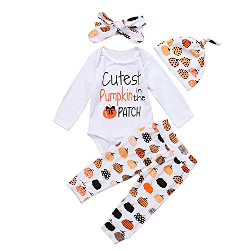 BiggerStore 3Pcs Cute Infant Baby Girl Boy Halloween Clothes Pumpkin Romper with Hat and Long Pants Outfits Set (0-6 Months, White)]()