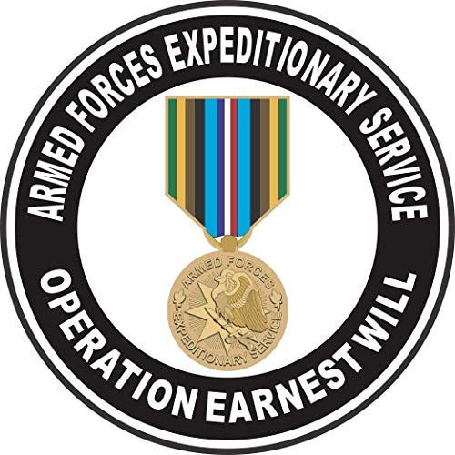 Military Vet Shop US Army Armed Forces Expeditionary Medal Operation Earnest Will Window Bumper Sticker Decal 3.8